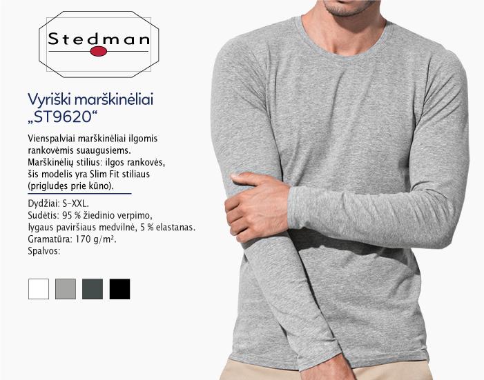 marškinėliai stedman st9620 ilgomis rankovėmis, marškinėliai su spaudu, marškinėliai su logotipu, medvilniniai marškinėliai, 7natos.lt, marskineliai.lt,