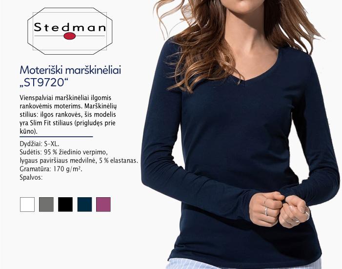 moteriški marškinėliai stedman st9720 ilgomis rankovėmis, marškinėliai su spaudu, marškinėliai su logotipu, medvilniniai marškinėliai, 7natos.lt, marskineliai.lt,