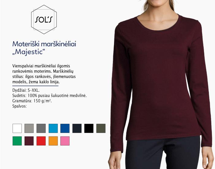 moteriški marškinėliai sols majestic ilgomis rankovėmis, marškinėliai su spaudu, marškinėliai su logotipu, medvilniniai marškinėliai, 7natos.lt, marskineliai.lt,