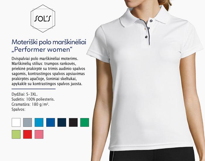 moteriški polo marškinėliai sols performer women,polo marškinėliai su spaudu, polo marškinėliai su logotipu, medvilniniai polo marškinėliai, 7natos.lt, marskineliai.lt,