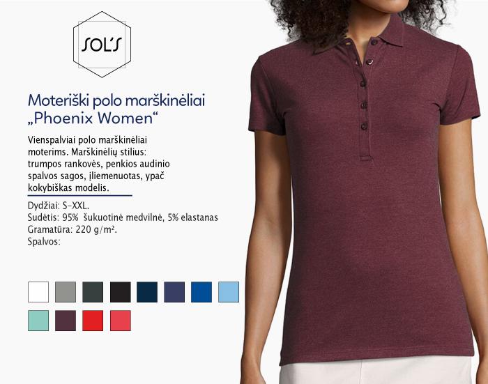 polo marškinėliai moterims sols phoenix women,polo marškinėliai su spaudu, polo marškinėliai su logotipu, medvilniniai polo marškinėliai, 7natos.lt, marskineliai.lt,