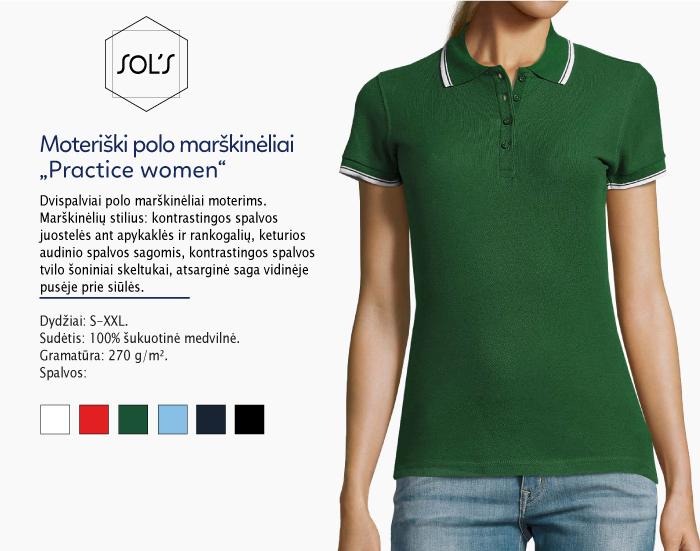polo marškinėliai moterims sols practice women,polo marškinėliai su spaudu, polo marškinėliai su logotipu, medvilniniai polo marškinėliai, 7natos.lt, marskineliai.lt,