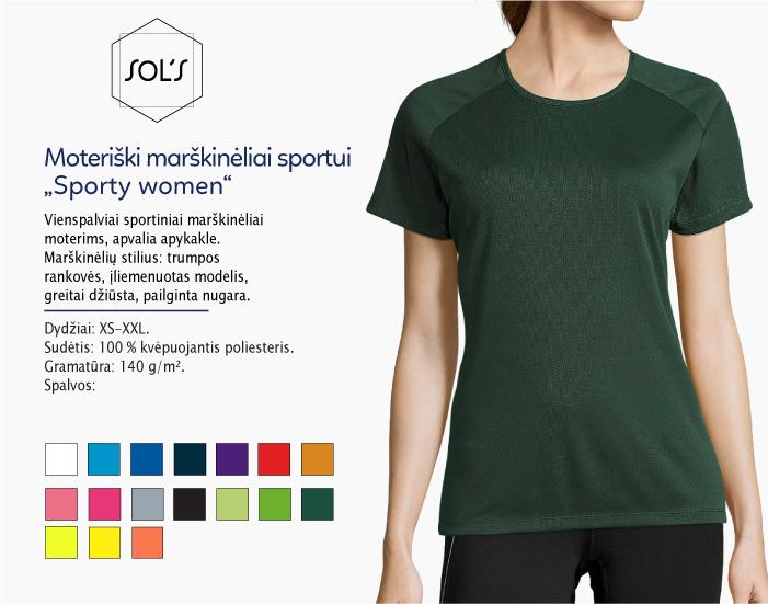 sportiniai marškinėliai moterims sols sporty women, marskineliai sportui, marskineliai maratonui, 7natos.lt, marskineliai.lt