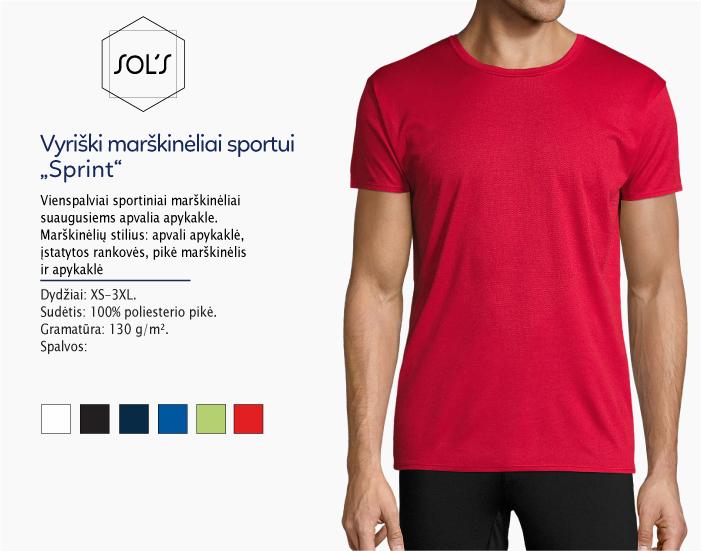 sportiniai marškinėliai vyrams sols sprint, marskineliai sportui, marskineliai maratonui, 7natos.lt, marskineliai.lt