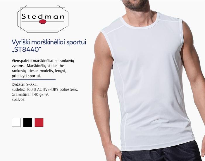 sportiniai marškinėliai be rankoviu vyrams stedman ST8440, marskineliai sportui, marskineliai maratonui, 7natos.lt, marskineliai.lt