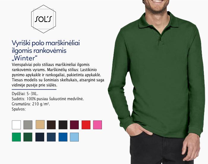 polo marškinėliai vyrams ilgomis rankovėmis sols winter, polo marškinėliai su spaudu, polo marškinėliai su logotipu, medvilniniai polo marškinėliai, 7natos.lt, marskineliai.lt,