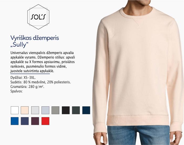 džemperis sols sully men, džemperiai su spauda, bliuzonai su spaudu, džemperiai su logotipu, medvilniniai džemperiai, medvilniniai bliuzonai 7natos.lt, marskineliai.lt,